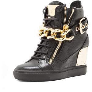 giuseppe zanotti chain sneaker wedge