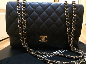 Chanel Classic Jumbo Black Caviar 18k GHW Lust4labels 1